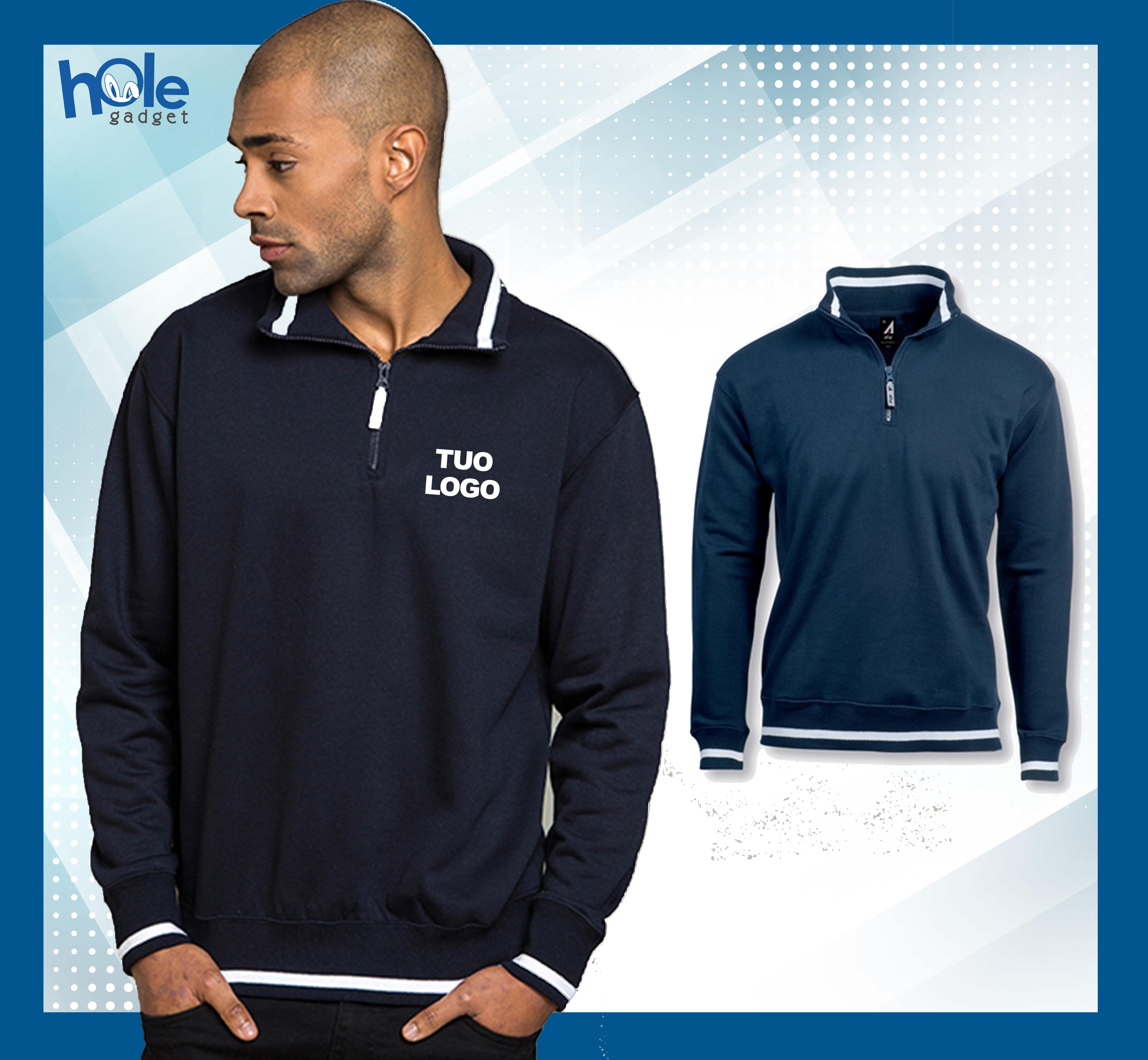 check out 5add5 3a455 Dettagli su Felpe personalizzate personalizzabile maglia uomo donna  girocollo lavoro con zip