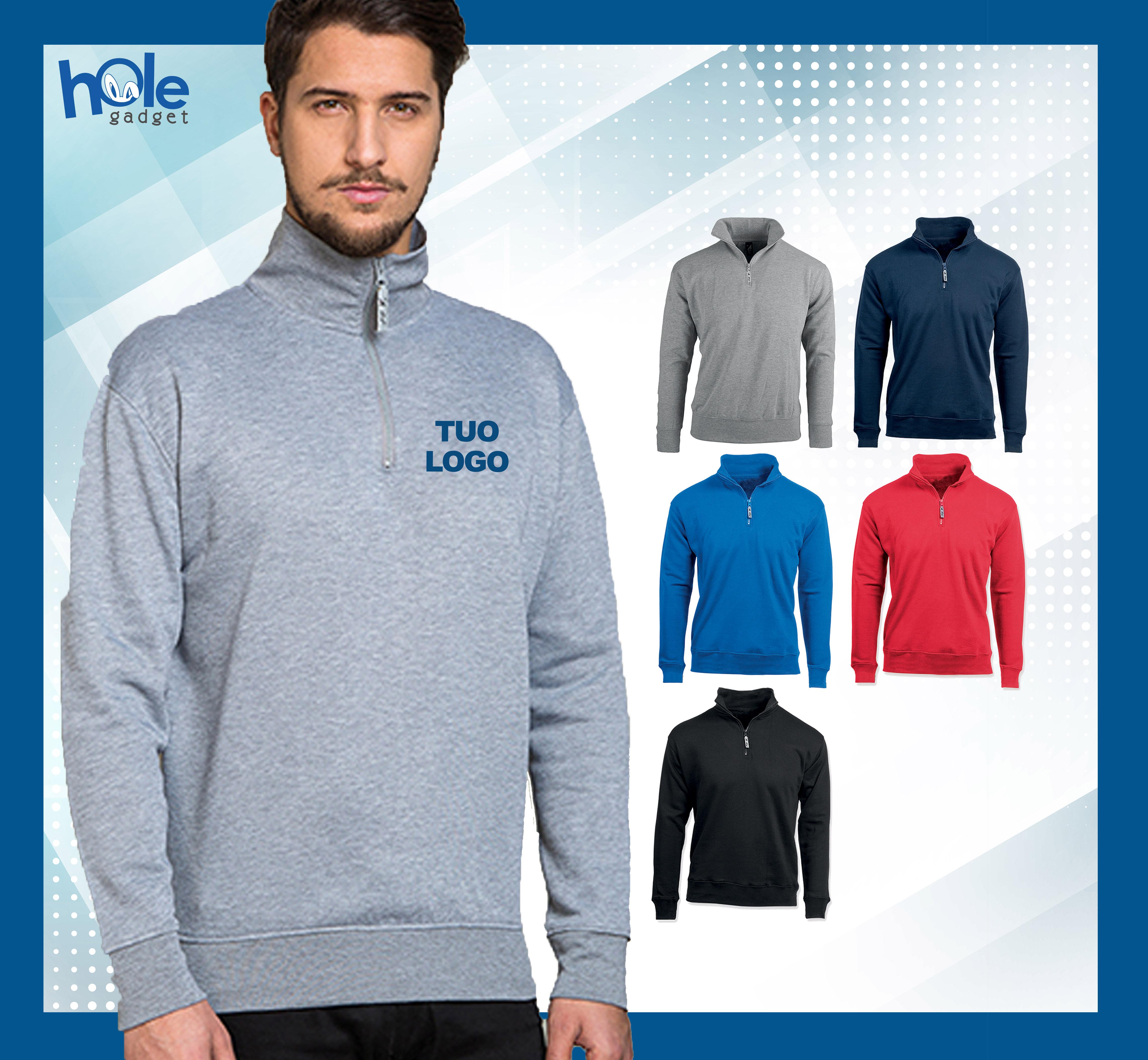 best service 1358a da05f Dettagli su Felpa personalizzata personalizzabile maglia uomo donna con zip  da lavoro unisex